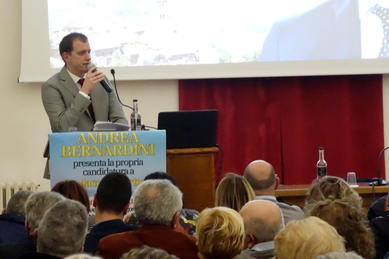 Centro Sant'Agostino gremito per la presentazione del candidato a Sindaco Andrea Bernardini