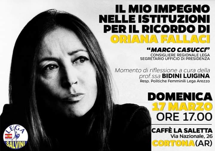 Un incontro pubblico su Oriana Fallaci a Cortona, con Marco Casucci