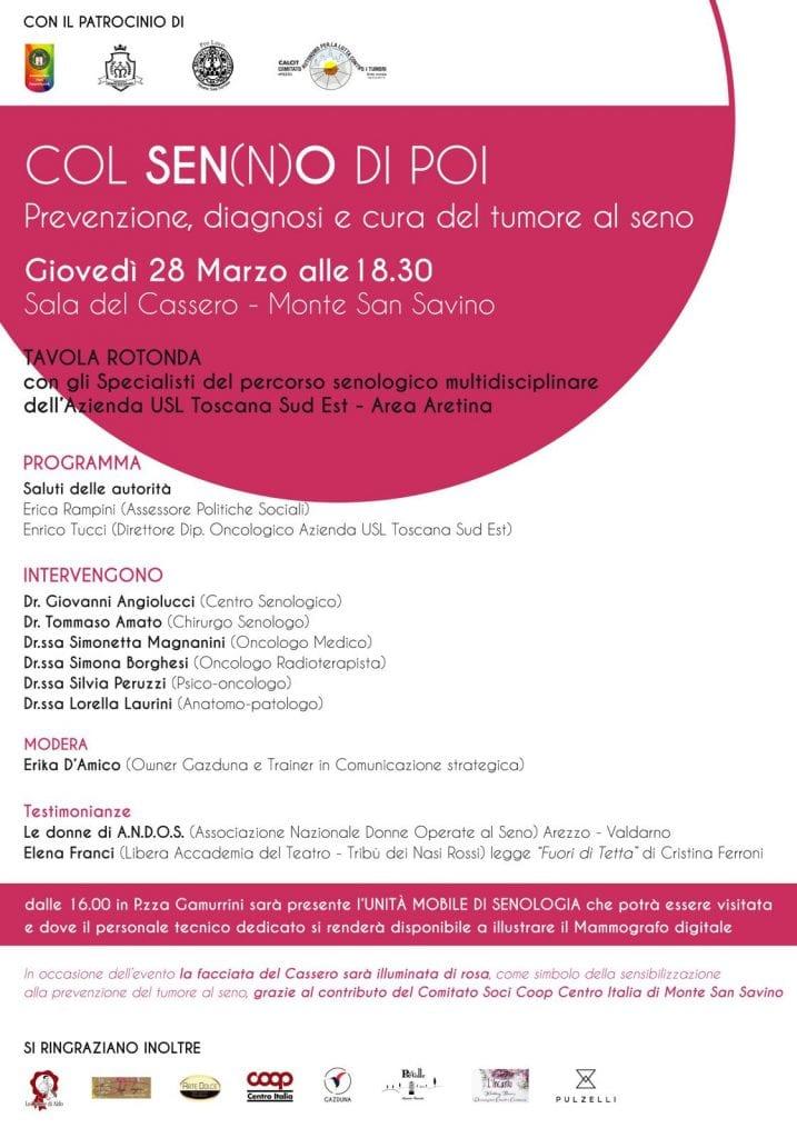 A Monte San Savino una giornata dedicata alla prevenzione del tumore al seno
