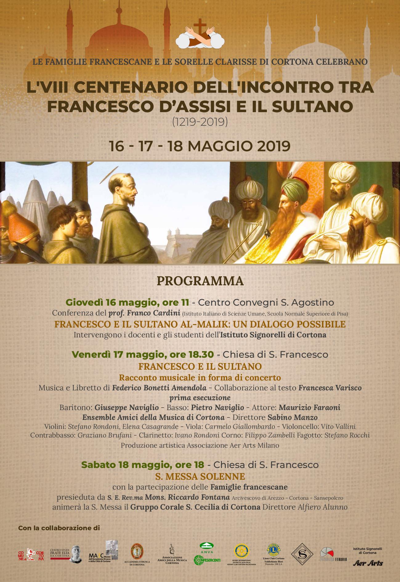 Celebrazioni a Cortona per l'VIII° centenario dell'incontro fra Francesco d'Assisi e il Sultano d'Egitto