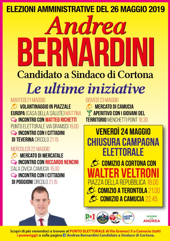 Sarà Walter Veltroni a chiudere la campagna elettorale di Andrea Bernardini