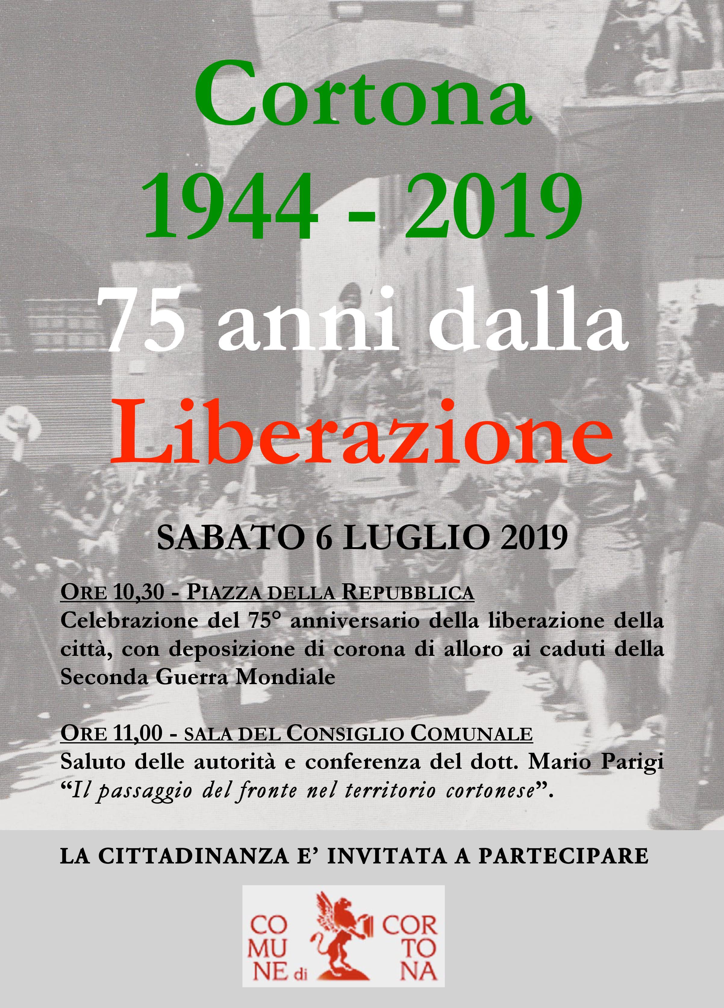 Celebrazione a Cortona per il 75esimo anniversario della Liberazione