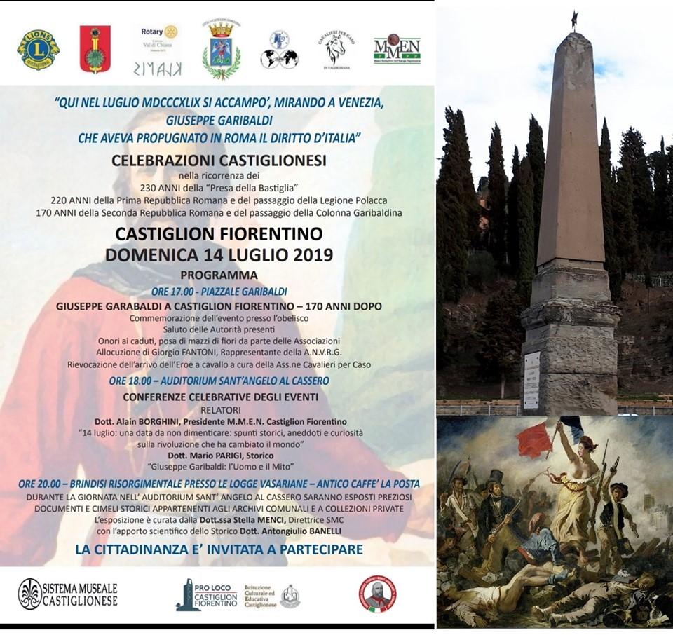 Garibaldi a Castiglion Fiorentino, il Lions Club celebra la ricorrenza