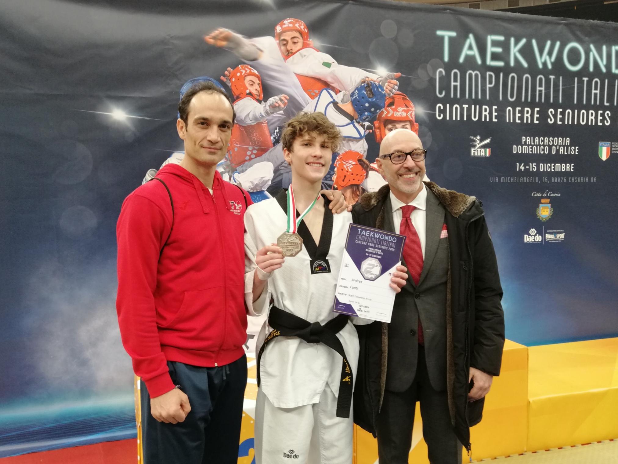 Andrea Conti argento ai Campionati Seniores di Taekwondo