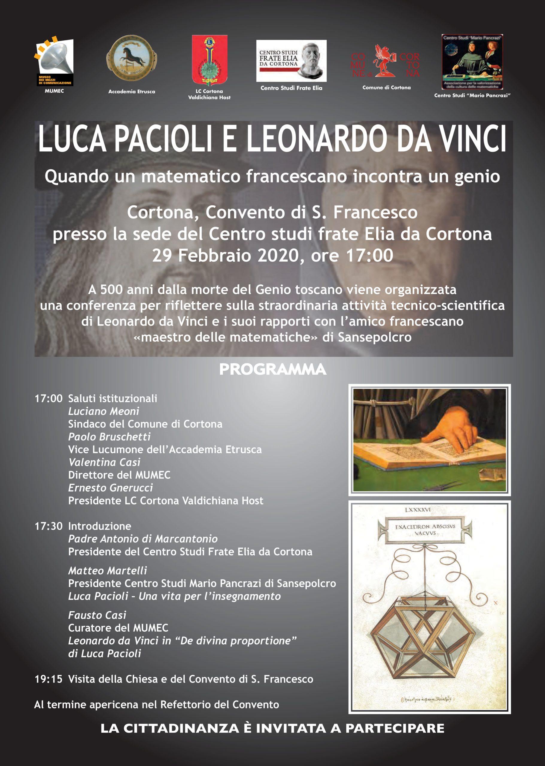 Luca Pacioli e Leonardo da Vinci, conferenza a Cortona