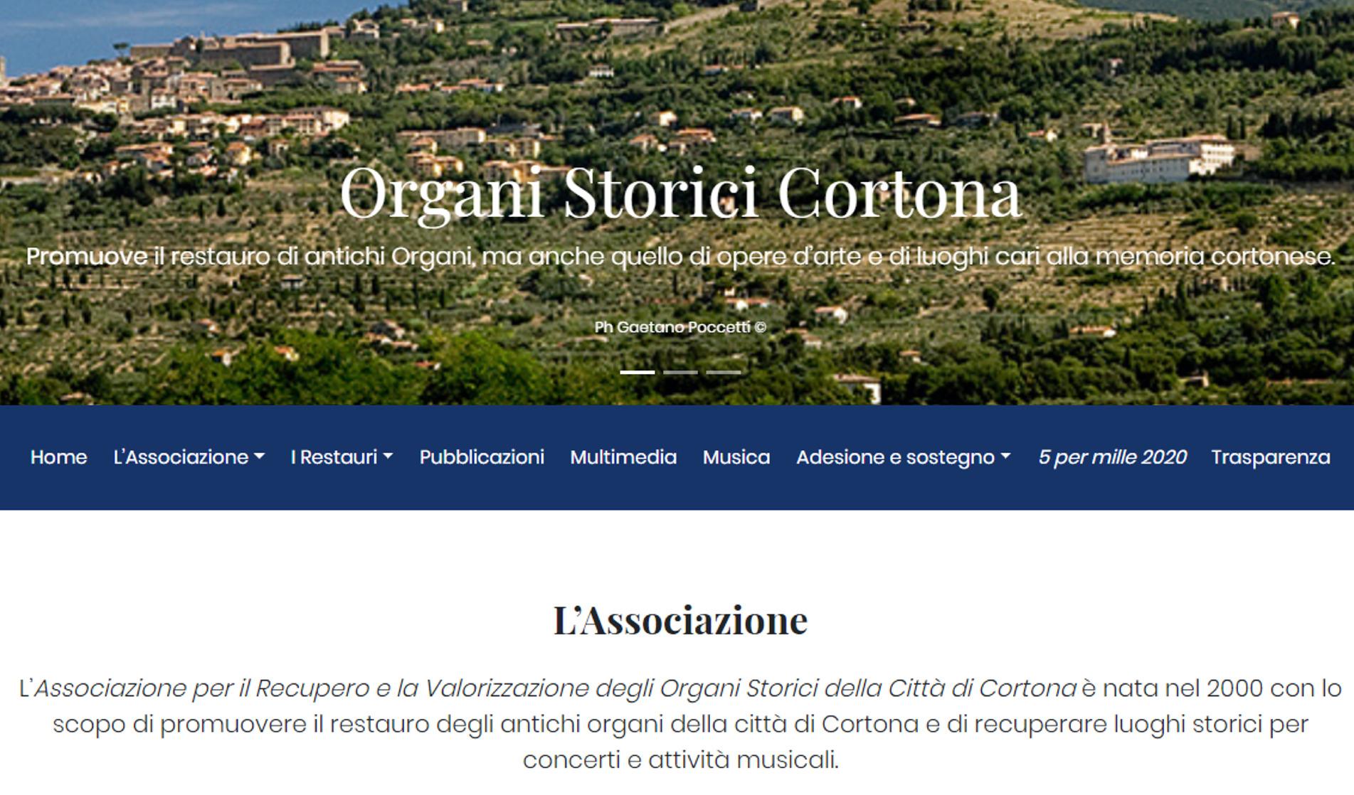Il nuovo sito dell'Associazione per il Recupero e la Valorizzazione degli Organi Storici della Città di Cortona