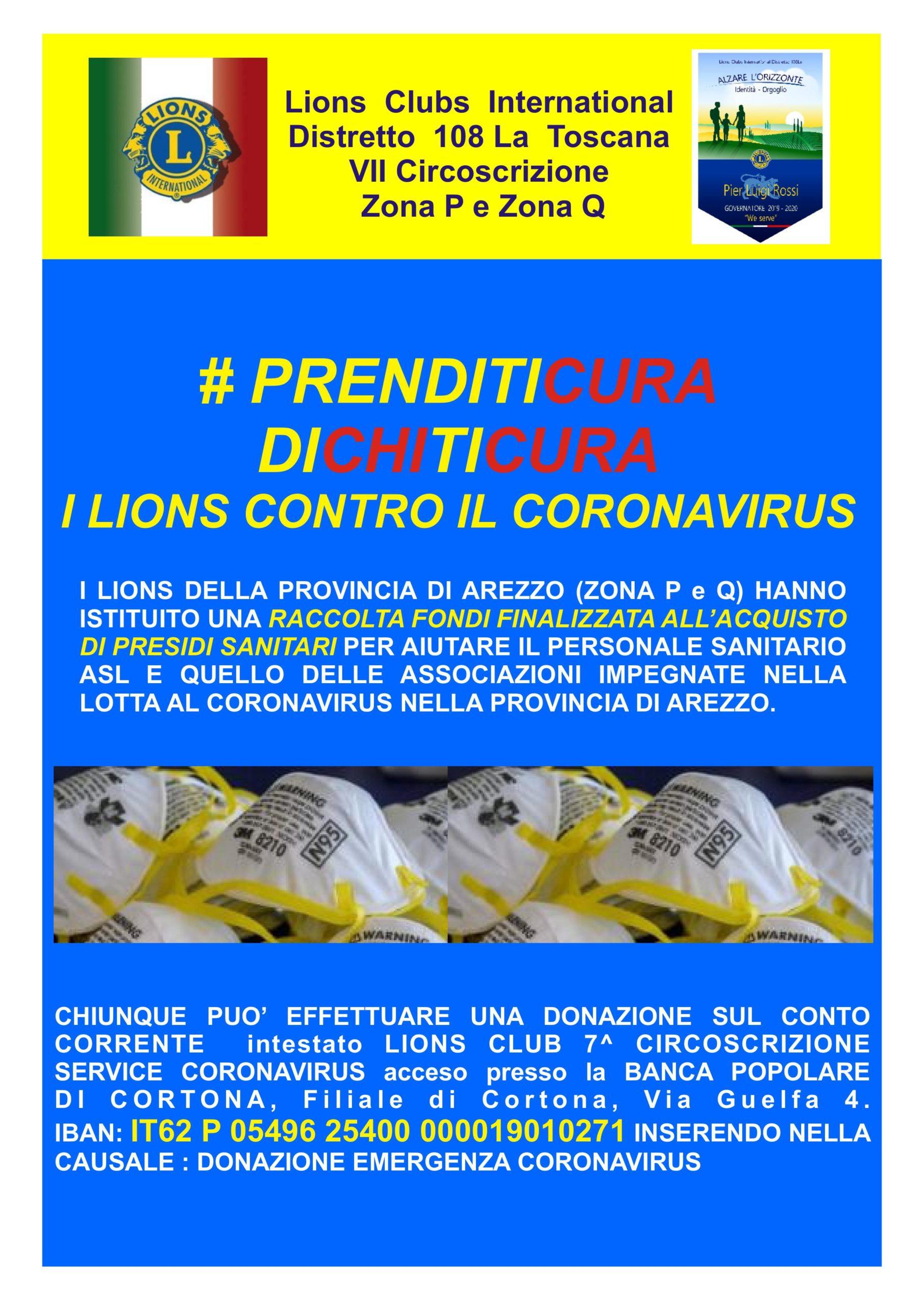 Raccolta fondi del Lions Club in aiuto ad Asl e associazioni impegnate nel fronteggiare il CoronaVirus