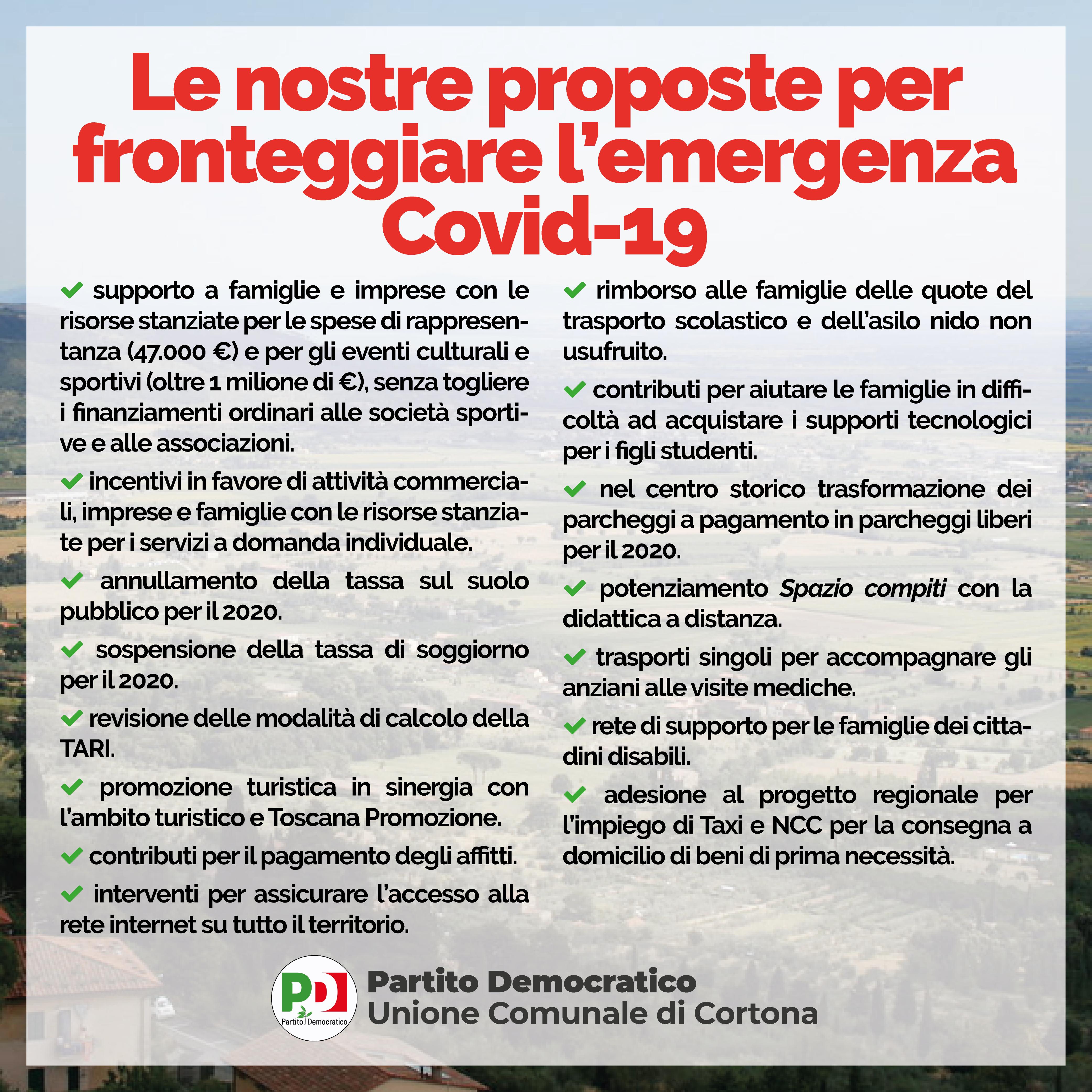 Le proposte dei Democratici cortonesi per fronteggiare l'emergenza Covid-19
