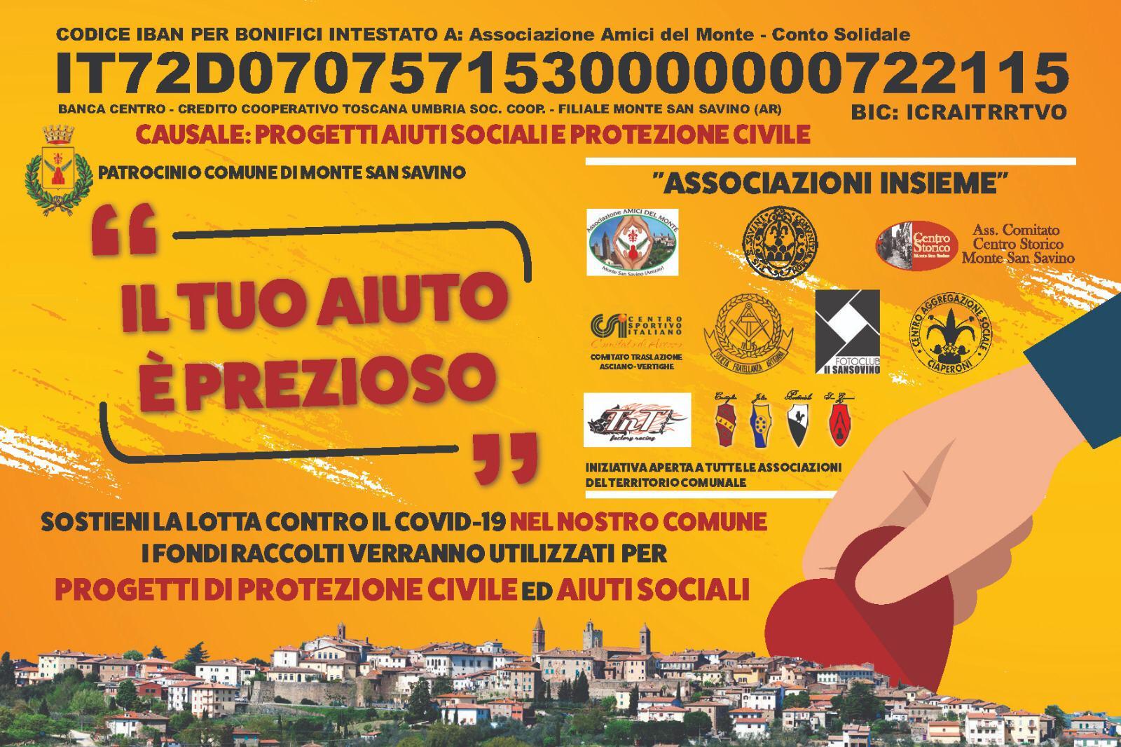 Monte San Savino: gioco di squadra fra Comune e Associazioni per battere il Covid