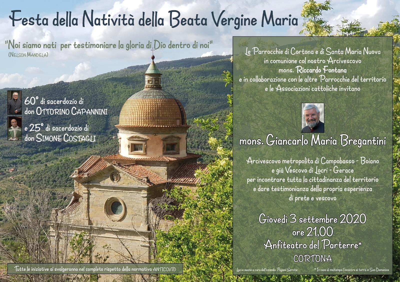 Visita del Vescovo Bregantini a Cortona giovedi 3 Settembre