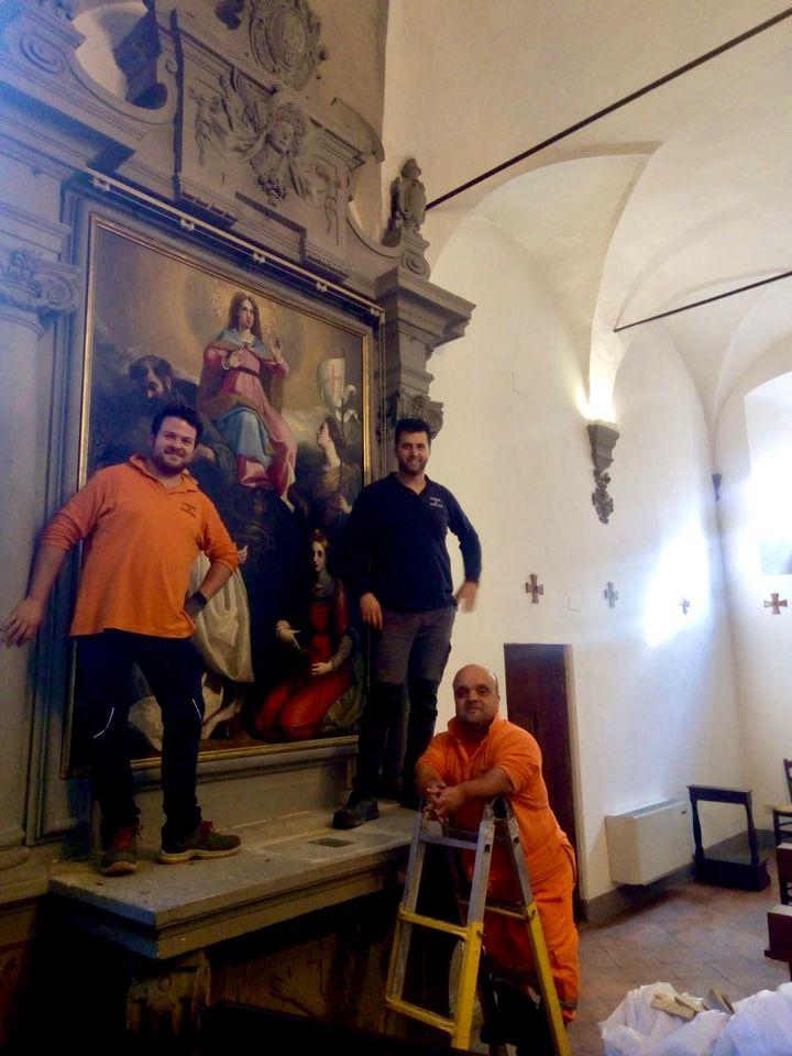 Terminato il restauro della tela di Commodi a Santa Chiara. Sabato la presentazione