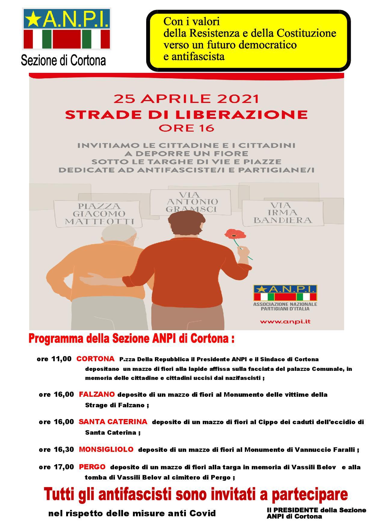 Le iniziative della Sezione ANPI di Cortona per il 25 Aprile